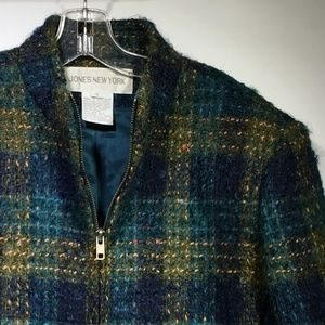 JONES NEW YORK Wool/Mohair Zip Up Tweed Jacket